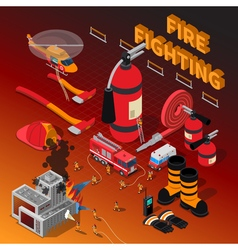 Firefighter isometric composition vector