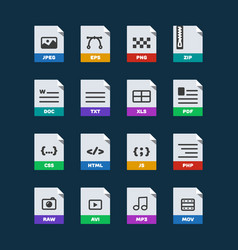 Flat colorful file format icons set vector