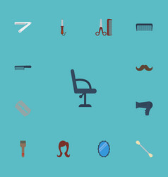 Flat icons whiskers looking-glass comb and other vector