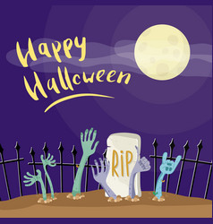 happy halloween poster with zombies hands vector image vector image