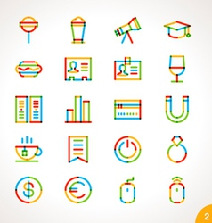 Highlighter Line Icons Set 2 vector image
