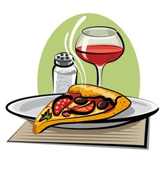 hot pizza and wine vector image