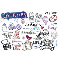Journey set of funky doodles vector image vector image