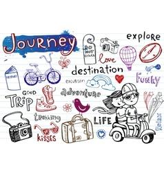 Journey set of funky doodles vector image vector image