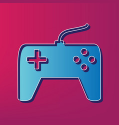 Joystick simple sign blue 3d printed icon vector