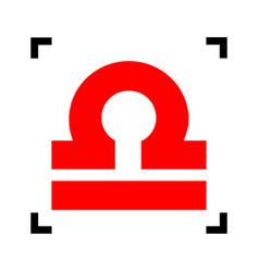 Libra sign red icon inside vector