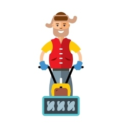 Man with a snow blower flat style colorful vector