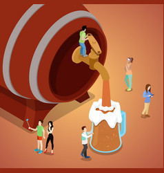 Miniature people pouring beer from wooden barrel vector