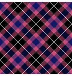 Pink blue check plaid seamless diagonal fabric vector