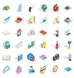 Reading icons set isometric style vector