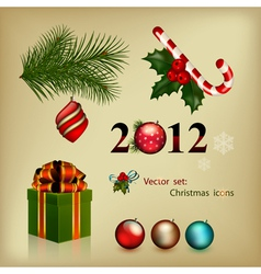 set of elements christmas icons vector image vector image
