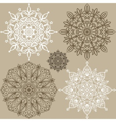 Set of round lace ornaments vector