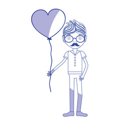 Silhouette man with mustache and heart balloon in vector