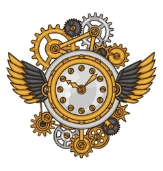 Steampunk clock collage of metal gears in doodle vector