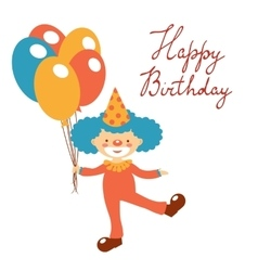 Stylish happy birthday card with cute clown vector