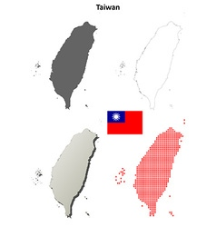 Taiwan outline map set vector