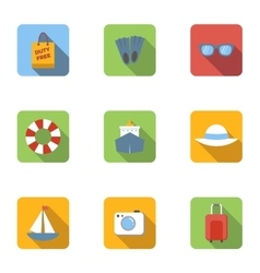 Tourism at sea icons set flat style vector