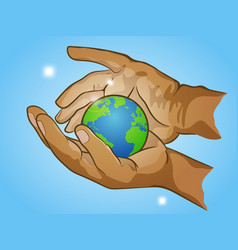 Two hands holding planet earth cherish the globe vector