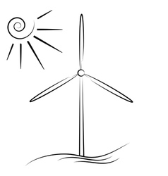 Windmill silhouette vector
