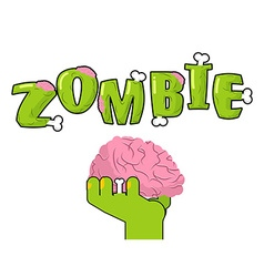 Zombie lettering bones and brains living dead vector