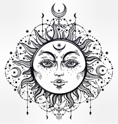 Boho sun vintage decorative drawing vector