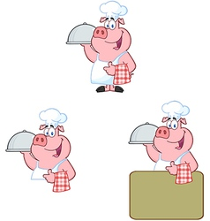 Chef pig collection vector