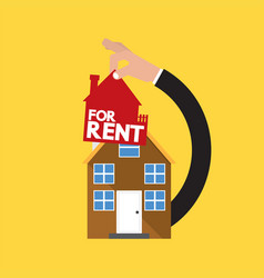 Home with hand real estate rental conceptual vector