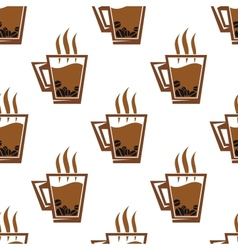 Seamless pattern background with coffee cups vector image