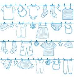 Children and baby clothes on clothesline vector
