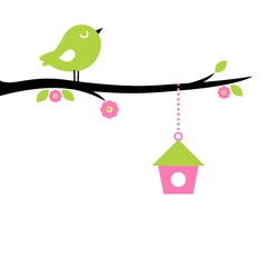 Cute spring bird on tree branch vector