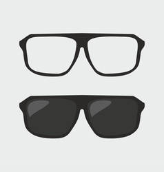 Black hipster sunglasses and ner glasses on grey vector