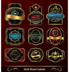 set black gold framed labels vector image