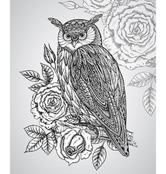 Wild totem animal - owl with roses vector