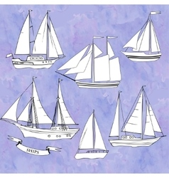 Shipsset of sketches vector