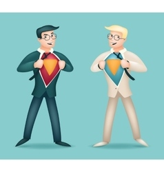Superhero suit under shirt happy smiling vector