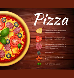 Pizza recipe background with ingredients vector