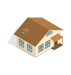 One storey house with porch icon vector