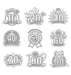 anniversary line numbers set vector image vector image