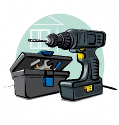 battery drill vector image vector image