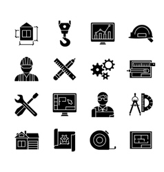 Blueprint black white flat icons set vector