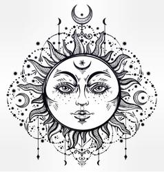 Boho Sun Vintage decorative drawing vector image vector image