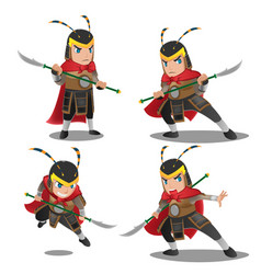 china armor warrior character set vector image