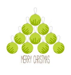 Christmas ball set triangle fir tree shape merry vector
