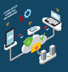 cloud office and technology isometric background vector image vector image