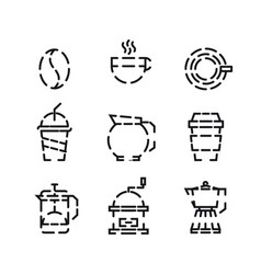 Coffee and drink icon set with white background vector