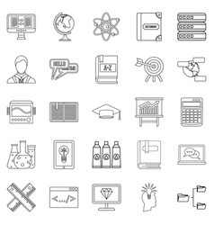 College icons set outline style vector