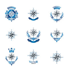 Compasses emblems set heraldic design elements vector