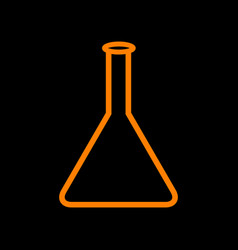Conical flask sign orange icon on black vector