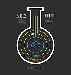 Creative template chemistry test tube banner line vector image