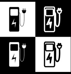 Electric car charging station sign black vector